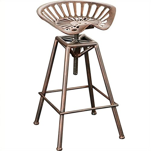 Noble House 26 Lawrence Saddle Bar Stool in Copper and Silver