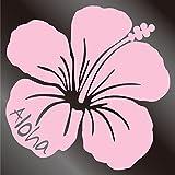 nc-smile ハワイアンステッカー ハイビスカス Aloha (A, サーモンピンク)