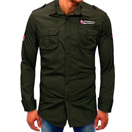 Mens Casual Shirts Clearance Sale vermers Men Long-Sleeve Beefy Button Basic Blouse Tee Shirt Tops(M, Army Green) by vermers