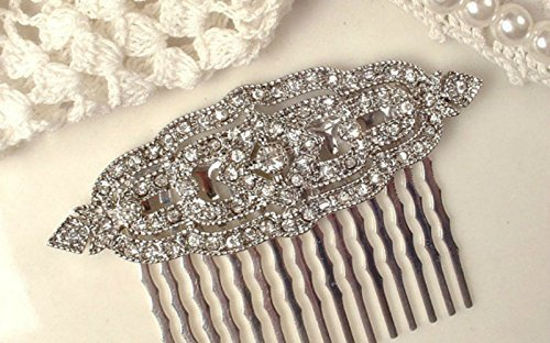 1920s Art Deco Crystal Rhinestone Bridal Hair Comb, 2 5/8 Inch Vintage Inspired