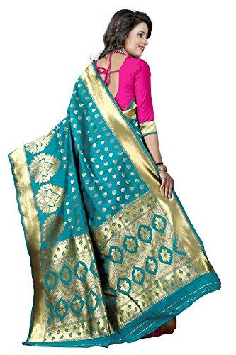 Blue Turquoise Sari (New indian/pakistani Ethnic Designer Multi Color Banarasi Silk Party Wedding Saree 750 (turquoise))