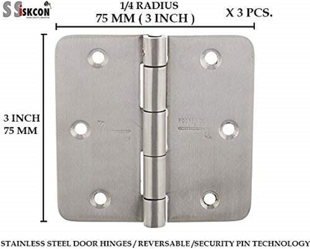Pack of 2 ssiskcon 3 Pieces Stainless Steel 3 Inch Door Hinges Security Lock Pin Brushed Satin 303025SQ-SP-32D Heavy Duty in-Swing Out-Swing