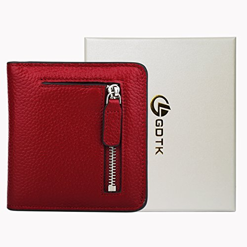 GDTK RFID Blocking Wallet Women's Small Compact Bifold Leather Purse Front Pocket Mini Wallet (Wine Red) by GDTK (Image #6)