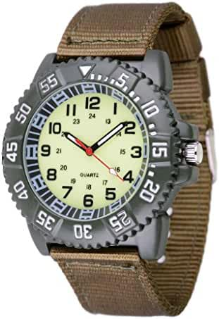 WOLFTEETH Water Resistant Analog Quartz Beige Dial Green Band Luminous Military Teenager Boy Wrist Watch #3018