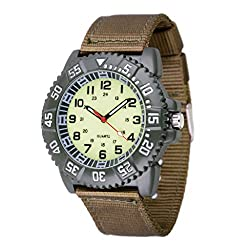 WOLFTEETH Water Resistant Analog Quartz Beige Dial Green Band Luminous Military Teenager Boy Wrist Watch #3018