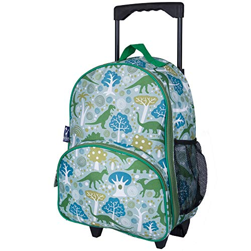 (Wildkin Rolling Luggage, Features Telescopic Top Grab Handle with Convenient Extras for Quick and Easy Organization - Dinomite Dinosaurs, One Size)
