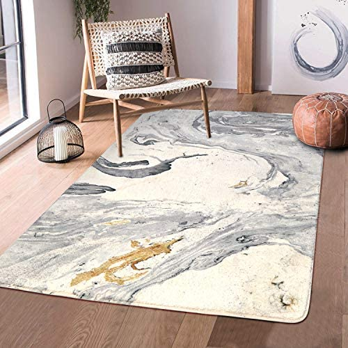 HAOCOO Area Rugs 4 x 5.3 Large Modern Abstract Beige Marble Throw Rugs Super Soft Velvet Non-Slip Chic Distressed Accent Floor Carpet