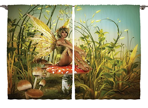 Ambesonne Girls Kids Room Birds Decor Collection, Little Fairy Elf with Wings on Fly Agaric Mushroom in Enchanted Forest Art, Window Treatments for Kids Bedroom Curtain 2 Panels Set, 108X84 Inches