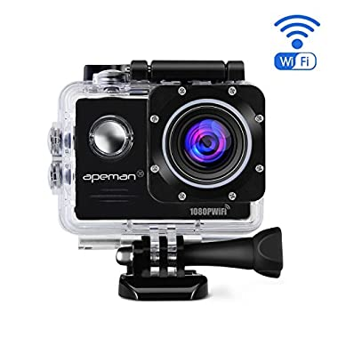 APEMAN Action Camera, Sport Camera Wi-Fi 1080p HD Waterproof Action Cam, Portable Package and Dual 1050mAh Batteries with 2.0 Inch 170° Wide-Angle