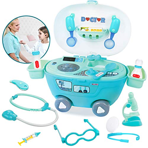 pozzolanas Doctor Kit Medical Toy for Toddlers Educational Pretend Play Set with Toy Cars Role Play Playset Birthday Gifts for Boys Girls