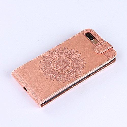 Für Apple iPhone 7 Plus (5,5 Zoll) Tasche ZeWoo® Ledertasche Kunstleder Brieftasche Hülle PU Leder Schutzhülle Case Cover - GH015 / rosa