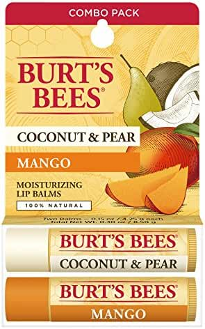 Burt's Bees 100% Natural Moisturizing Lip Balm, Coconut & Pear and Mango, 2 Tubes in Blister Box
