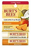 Burt's Bees 100% Natural Moisturizing Lip Balm, Coconut & Pear and Mango with Beeswax & Fruit Extracts – 2 Tubes