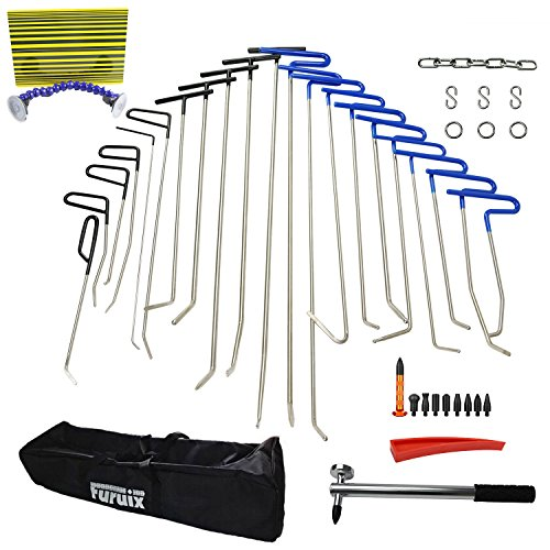 Paintless Dent Repair Tools Dent Removal PDR Rods Furuix 33pcs PDR Tool Hail Removal Auto Body Ding Dent Repair Rod Hook Wedge Paintless Hail Removal Tool (PDR-110) (Dentless Repair Kit compare prices)