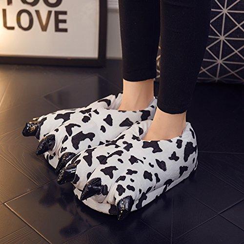 Espesar Cow Adulto Calido Animal Niños Garra Zapatilla Suave Unisex Terciopelo Zapato qZfqCAw