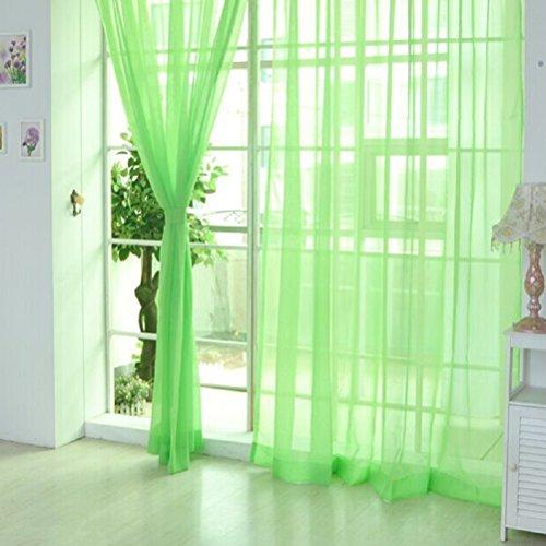 ILOVEDIY Vorhang Voile Gardinen Transparent Schlaufenschal Transparent 200x100 cm Grün 2er set
