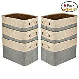 Walsilk Storage Bin Baskets,Foldable Canvas Fabric Tweed Storage Cube Basket Bin Organizer Set,for Nursery, Office, Closet, Bedroom, Toy Clothes (6PCS, Gray)