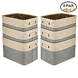 Walsilk 6 Pack Storage Bin Baskets,Foldable Canvas Fabric Tweed Storage Cube Basket Bin Organizer Set,for Nursery, Office, Closet, Bedroom, Toy Clothes