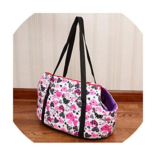 Sweet Circles and Dots Pet Carrier Bag Dog Cat Carrier Shoulder Message Bag Warm Winter Dog Slings Bags Dog Carrier,Pink Heart,L