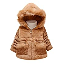 Gotd Baby Girls Kids Outwear Clothes Winter Jacket Coat Snowsuit Clothing (24 Months, Khaki)