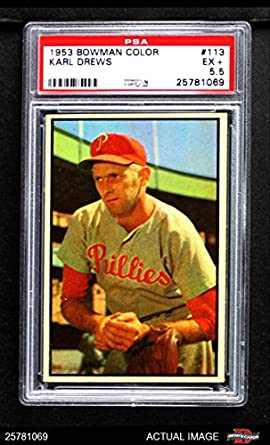 Amazoncom 1953 Bowman 113 Karl Drews Philadelphia Phillies