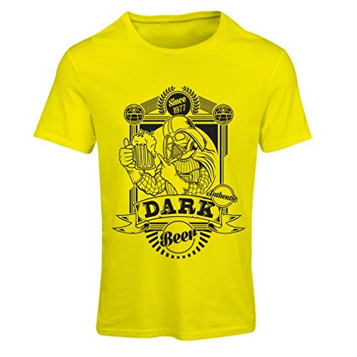 lepni.me N4835F T Shirts For Women The Dark Side Of The Beer (Small Yellow Multi Color)