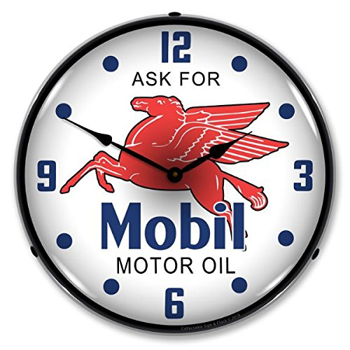 (New Mobil Oil Retro Vintage Style Advertising Backlit Lighted Clock - Ships Free Next Business Day to Lower 48 States )