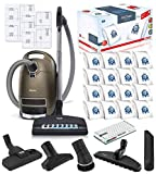 Miele Complete C3 Brilliant Canister HEPA Vacuum Cleaner + SEB-236 Powerhead Bundle - Includes Miele Performance Pack 16 Type GN AirClean Genuine FilterBags + Genuine AH50 HEPA Filter