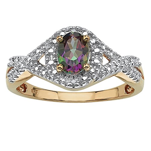 - Oval-Cut Mystic Fire Topaz and Diamond Accent 18k Gold over .925 Silver Crossover Ring Size 7