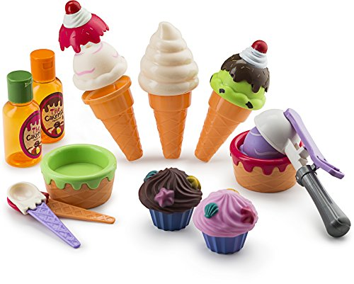 JaxoJoy Ice Cream Set – Ice Cream Shop Gift Playset for Kids with Play Pretend Ice Cream, Cones, Cups, Spoons, Scoop, Toppings & More – Recommended Ages 3 & (Play Shop)