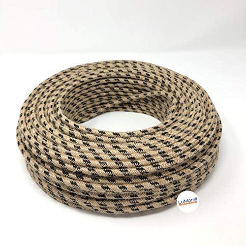- Yute//algod/ón negro 10 Metri 2 x 0,75 mm2 cable de tela de 2 hilos Fabricado en Italia. Cable de tela para l/ámpara