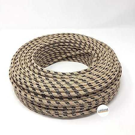 5 Meter - Jute//Schwarze Baumwolle Textilkabel f/ür Lampe Stoffkabel 3-adrig 3x0,75mm/² Made in Italy