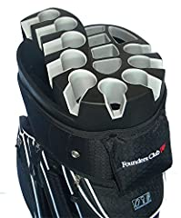 The Founders Club Premium 14 Way Organizer Cart Bag is the perfect way to carry all your own course equipment. The Molded 14 Way top has space designed to hold irons, woods, and your putter securely and with easy access. Your irons wil...