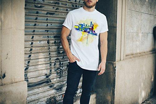 Alte Lokomotive Herren T- Shirt , Stylisch aus Paul Sinus Aquarell Color
