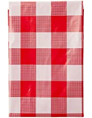 Home Living Plastic Table Cloth, Red/White