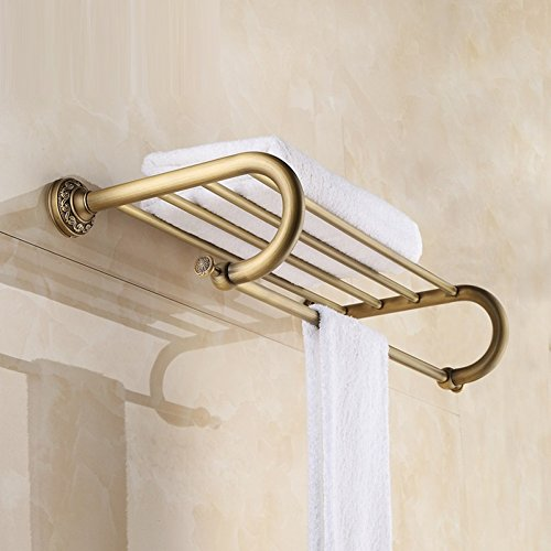 LJ&L European retro style copper yellow bathroom racks, bronze polished by hand, anti-corrosion, home and hotel decoration high-end hardware accessories,copper yellow,Length 63cm by LIUJIANGLONG (Image #1)