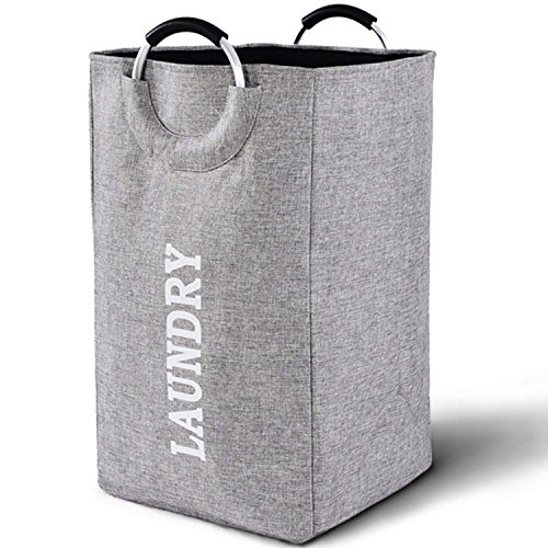 Large Collapsible Laundry Hamper Bag with Handles, 15 x 15 x 26 Inches Foldable Clothes Basket for Washing Storage (Nursery Clothing Hamper)