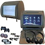 2x Autotain Dream 9 inch Digital Touch Screen Headrest DVD Player Monitor GREY GRAY