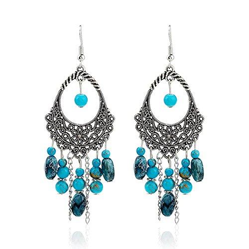 Beaded Tassel Dangle Earrings Vintage Retro Boho Chandelier Earrings For Women