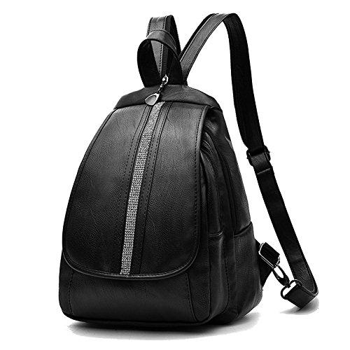 SDINAZ Mochila mochila de las mujeres mochila de las mujeres a prueba de agua mochila clásica de viaje Negro 2