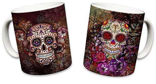 Sweet Gisele | 2 Mug Set | Sugar Skull Mugs | Ceramic Floral Print Coffee Cup | Day of the Dead Design | Beautiful Vivid Colors | Great Novelty Gift | Multicolor Mugs | 11 Fl. Oz (Brown & Purple) (Los Dia Muertos Dinnerware De)