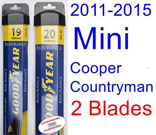 2011-2015 Mini Cooper Countryman Replacement Wiper Blade Set/Kit (Set of 2 Blades) (Goodyear Wiper Blades-Assurance) (2012,2013,2014)