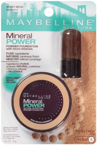 Maybelline New York Mineral Power Powder Foundation, Honey Beige, Medium 4, 0.28 Ounce