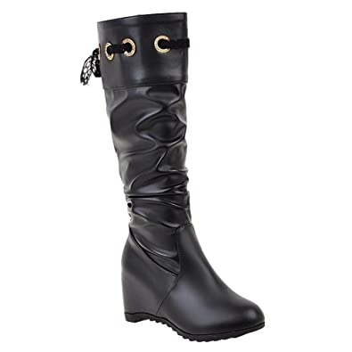 Women's Fashion Hidden Heel Lace High Heel Knee High Boots