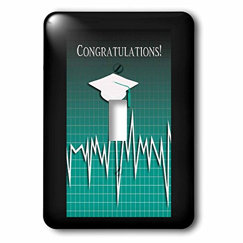 Beverly Turner Graduation Design - Medical Theme, Congratulations, Heart Beat Graph, Grad, Cap, Green - Light Switch Covers - single toggle switch (lsp_234542_1) by 3dRose