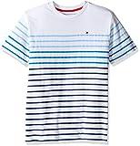 Tommy Hilfiger Big Boys' Short Sleeve Striped Crew-Neck T-Shirt, Summer Blue, Large