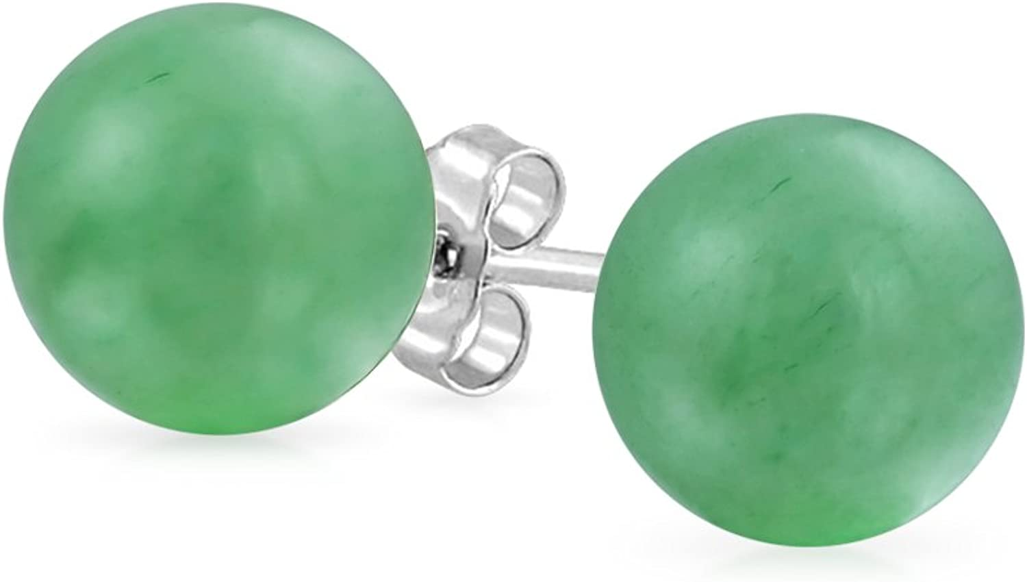 Simple Teñido De Verde Piedras Preciosa Venturina Balón Redondo Pendiente De Boton Para Mujer 925 Plata De Ley 925 6Mm