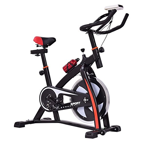 Goplus Adjustable Exercise Bike Stationary bike Indoor Cycle Bike Trainer for Workout Fitness
