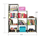 Adjustable Korean Style Home Furniture Book Storage Shelf with 9 Shelves (Gray)