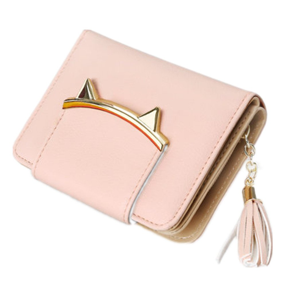 Lovely Cat Ears Coin Purse for Ladies Small Wallet Money Clip Card Case
